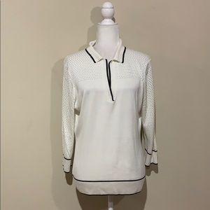 St. John White Open Knit V Neck Collared Sweater